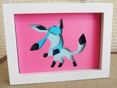 "Glaceon Layered Paper Cut Art Piece 5""x7"" Shadowbox Frame These Paper CutOuts are designed using Scale Vector Graphics and cut using a paper cutter for precision details. Than by hand they are arranged"