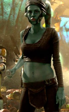 Aayla - the blue Jedi from star wars. Like the way brown clothes contrast with her skin. Also like the materials and wrapping styles
