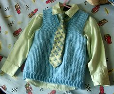 Little boys vest crochet pattern -- I love how my little guys look in sweater vests!  And this pattern has multiple sizes listed.