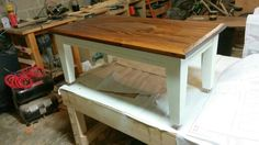 This was a refinishing job. The whole Fir coffee table was stained nearly black and aboutt a foot longet. Lots of sanding later this top was freed. The new owner loves it.