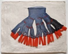 """Page from textile book """"Ode à l'Oubli"""" (2004) by French-American artist Louise Bourgeois (1911-2010). Exhibition: Mind and Matter: Alternative Abstractions, 1940s to Now, MoMA (2010). via mondoblogo"""