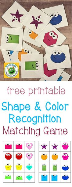 Free Printable Shape and Color Recognition Matching Game: A shape and color activity for preschoolers