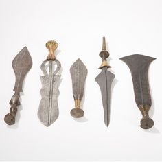 These five ceremonial knives were crafted in Congo towards the beginning of the 20th century
