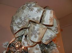 Large Christmas Tree topper bow Champagne gold by creativelycarole