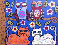 Ideas for cat rocks Kerri Ambrosino Art NEEDLEPOINT Mexican Folk Art  Cats Owls and flowers by a Tree