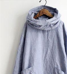 Washed blue | Smock coat | Roll collar | Saro.