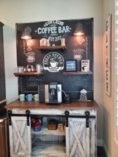Diy coffee bar - Really easy to do coffee bar. Purchased the paneling, shelf wood, and lights from home depot, and painted the paneling with black chalk pa Wine And Coffee Bar, Coffee Bars In Kitchen, Coffee Bar Home, Kitchen Small, Coffee Drinks, Iced Coffee, Coffee Bar Station, Home Coffee Stations, Coffee Station Kitchen
