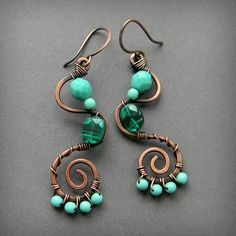 Copper Wire Wrapped  Earrings  with  turquoise by Anabel27shop