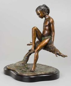 Bronze Nudes, Female #sculpture by #sculptor Heidi Hadaway titled: 'Lilly Gazer (Little Bronze Girl with Toe in Water Sculpture or ornamen)' #art