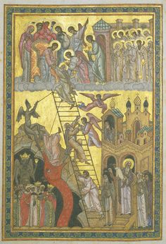 """The """"Ladder of Divine Ascent"""": From Diminished Less to Expanding More. Image: Lestnitsa [The Ladder of Divine Ascent] Manuscript Russia, century NYPL, Spencer Collection Byzantine Icons, Byzantine Art, Religious Symbols, Religious Art, Jacob Jacob, Orthodox Catholic, Jacob's Ladder, Russian Icons, Biblical Art"""