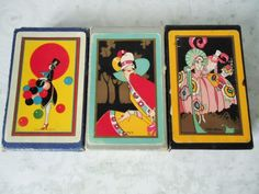 Three Named Art Deco Playing Card Decks - Vintage Playing Cards - Old Card Games - Congress 606 Playing Card Deck