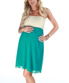 Take a look at this PinkBlush Maternity Jade Crocheted Maternity Strapless Dress - Women on zulily today!