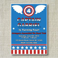 CAPTAIN AMERICA INSPIRED Birthday Party Invitation | Michael is ...