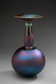 Hideaki Miyamura- Vase with Blue Hare's Fur Glaze