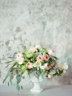 Romantic floral centerpiece in blush, sage, and peach | Ksenia Milushkina Photography | see more on: http://burnettsboards.com/2014/07/editorial-beautiful-trends-floral-design/