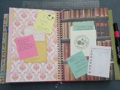 Library cards in a notebook