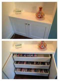 Dvd Storage Idea Living Room Alcove Cabinet with Simple Internal Dvd Drawers Dvd Storage Cabinet, Diy Dvd Storage, Alcove Storage, Storage Ideas, Dvd Storage Solutions, Stamp Storage, Shoe Storage, Storage Drawers, Storage Shelves