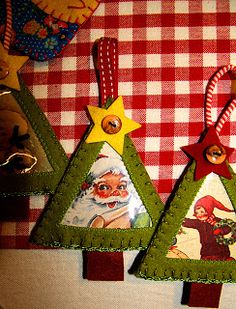 Use old Christmas cards Use craft sticks for triangle