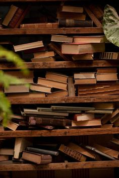 Wooden Bookshelves filled with Old Books . Old Books, Antique Books, Vintage Books, I Love Books, Books To Read, Dream Library, Library Books, Photo Library, Brown Aesthetic