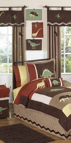 Looking for attractive Dinosaur Crib Bedding? You can't go wrong with this 9 piece Dinosaur Baby Bedding set from JoJo Designs. Dinosaur Crib Bedding, Baby Boy Crib Bedding, Dinosaur Bedroom, Nursery Bedding, Boys Bedding Sets, Crib Sets, Comforter Sets, Quilt Set, Childrens Beds