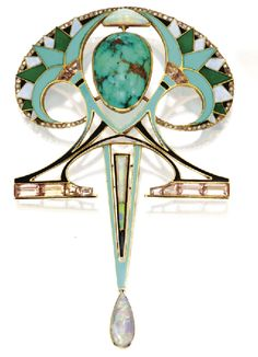 Art Nouveau pendant/brooch by FOUQUET: note the contrast of its exotic organic shape in yellow gold set with dramatic colored enamel and semiprecious stones, like the center turquoise and the drop white opal, with the white Belle époque and Garland style jewelry of his contemporaries with flower and lace motifs set in white metal and diamonds only