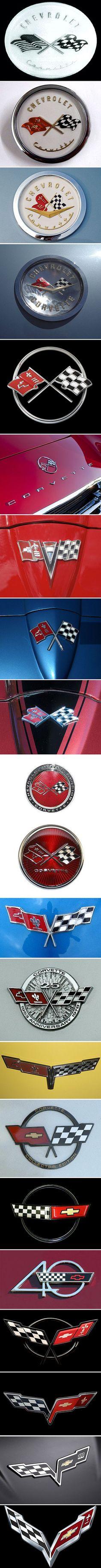 A Visual History of Corvette Logos #chevroletcorvettevintage