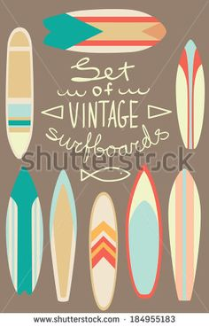 Set of vintage surfboards