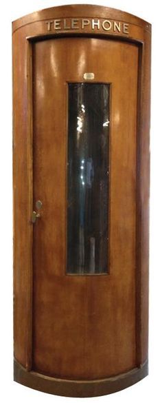 Rare Curved Glass and Mahogany Round Telephone Booth from Paris, France, circa 1950 this would be a beautiful conversation decor piece Art Deco Furniture, Antique Furniture, Belle Epoque, Vintage Decor, Vintage Antiques, Bauhaus, Art Nouveau, Blog Art, Antique Phone