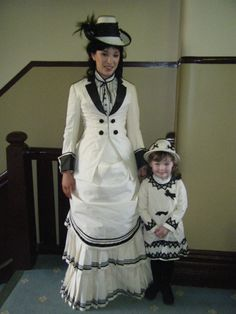 Black and white bustle dress with hat