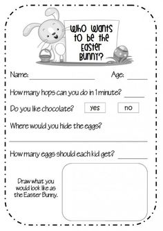 Who wants to be the Easter Bunny?Get your students to complete this application to be the Easter Bunny. Available to download in 2 different levels of difficulty.