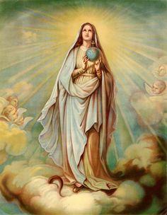 """INMACULADA CONCEPCIÓN o VIRGEN DEL GLOBO, aparición a santa Catalina Labouré, París, 1830.  """"El globo simboliza al mundo en general y a cada alma en particular""""."""