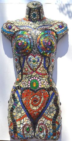 Mosaic, mannequin, wall sculpture- Inside Out  Shop: Inspirall  Artist: Nikki Ella Whitlock ~ Fine Art & Crafts