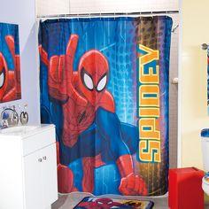 Ejemplo marco de fotos infantil de spiderman con rojos y for Spiderman bathroom ideas