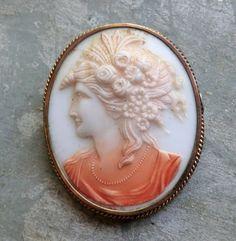 Angel Skin Coral Cameo Brooch of Roman Goddess Flora
