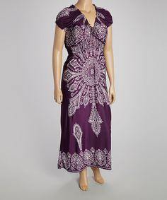 Look what I found on #zulily! Purple Arabesque Peasant Dress - Plus #zulilyfinds