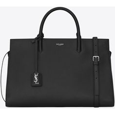 Saint Laurent Medium Cabas Rive Gauche Bag ($2,000) ❤ liked on Polyvore featuring bags, handbags, purses, genuine leather purse, leather tote bags, handbags totes, hand bags and leather hand bags