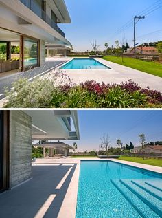 This modern house has an large outdoor patio, and as the house sits on a 650 foot (200m) rectangular lot, there's also plenty of room for a large swimming pool, grassy backyard and a gazebo.