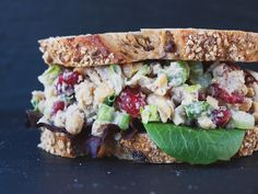 Cranberry Walnut Chickpea Salad Sandwich (chicken-less chicken salad). Made it and tastes good but could use a bit more flavor. Make 1.5x or 2x the dressing if using tahini or double the seasoning?