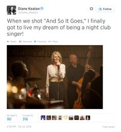 Actress Diane Keaton talks about singing on set of And So It Goes