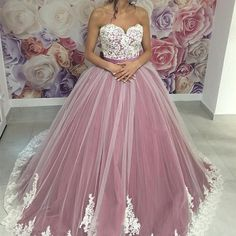 A-line light purple tulle sweetheart lace appliques long prom dress, PD6335