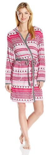 Peanuts-Snoopy-Womens-Pink-Hearts-Knit-Wrap-Hooded-Robe-Sz-L-XL-NWT