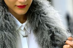 Anisa Sojka wearing silver My Name Necklace 'Anisa' necklace.