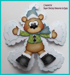 Winter Bear Boy Premade Paper Piecing Die Cut for Scrapbook Page by Babs Paper Piecing Memories by Babs Scrapbook Cards, Scrapbooking Ideas, Scrapbook Layouts, Paper Art, Paper Crafts, Bear Card, Christmas Scrapbook, Punch Art, Xmas Decorations