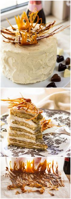 "Honey and Mascarpone Cream 8 layer Cake ""Medovik"" with Caramel Flames. The most popular cake in Russia for its amazing flavour and easy prep!:"