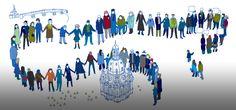 Zeichnung: Menschenkette und Frauenkirche