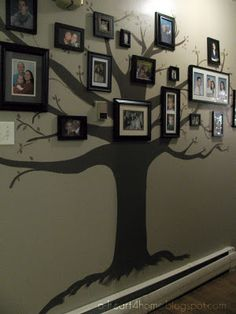 Family Tree Wall Mural! Neat way to display family photographs. #Painting #Decor