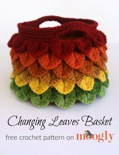 Changing Leaves Basket - free crochet pattern on Mooglyblog.com! Make it with Vanna's Choice.