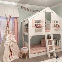 Tree House Twin-Over-Twin Bunk Bed Baumhaus Twin-Over-Twin-Etagenbett Bunk Beds For Girls Room, Bunk Bed Rooms, Bunk Beds With Stairs, Twin Bunk Beds, Kid Beds, Girls Bedroom, House Beds For Kids, Toddler Bunk Beds, Toddler House Bed
