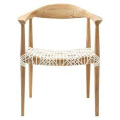 Safavieh Fes Arm Chair - White/Teak