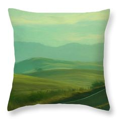 """Hills In The Early Morning Light Digital Impressionist Art Throw Pillow by Randy Herring.  Our throw pillows are made from 100% spun polyester poplin fabric and add a stylish statement to any room.  Pillows are available in sizes from 14"""" x 14"""" up to 26"""" x 26"""".  Each pillow is printed on both sides (same image) and includes a concealed zipper and removable insert (if selected) for easy cleaning."""